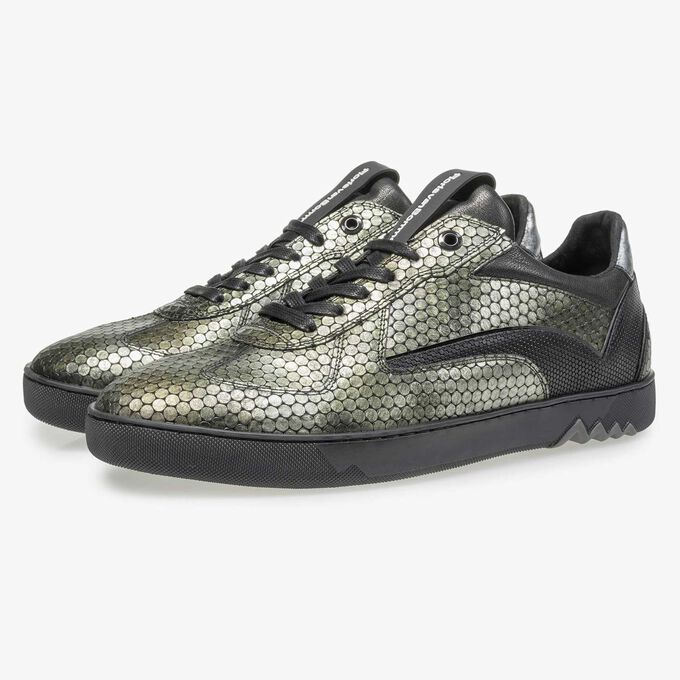 Green metallic print leather sneaker
