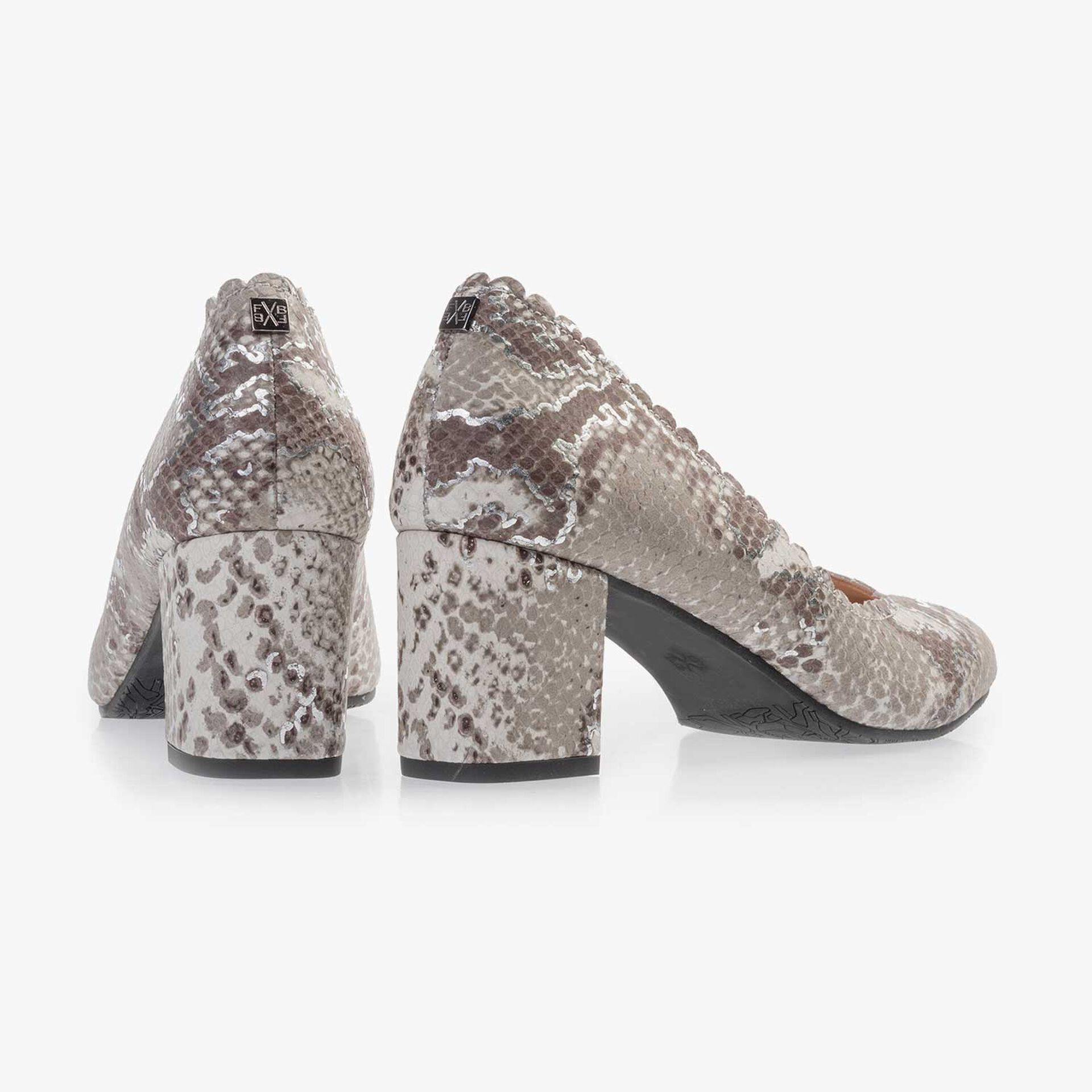 Taupe-coloured leather pumps with snake print