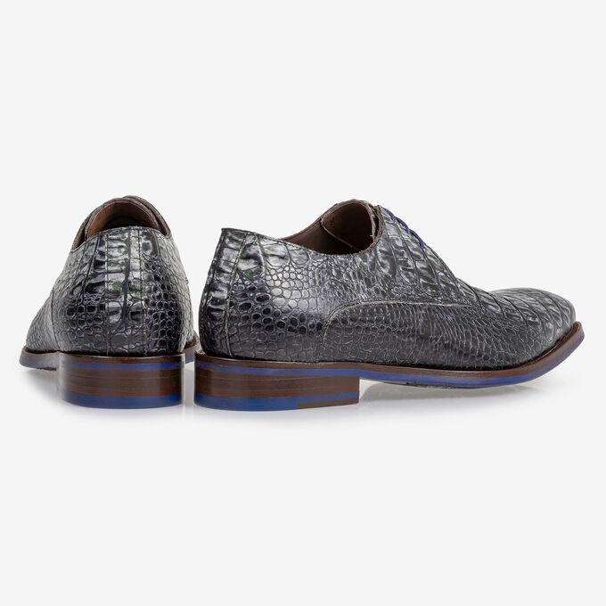 Lace shoe croco print grey