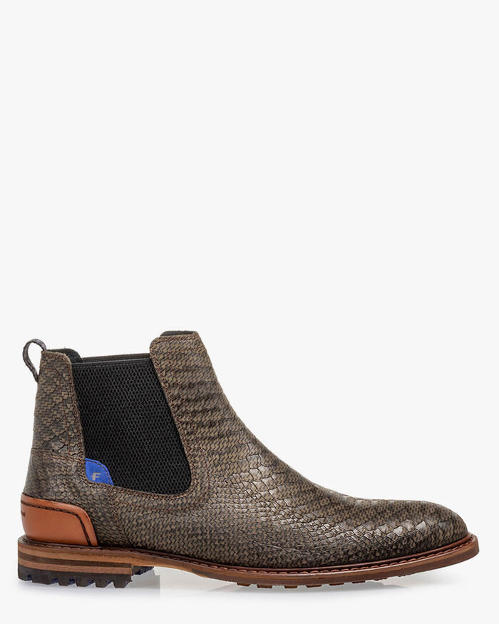 Chelsea boot reptielenprint groen