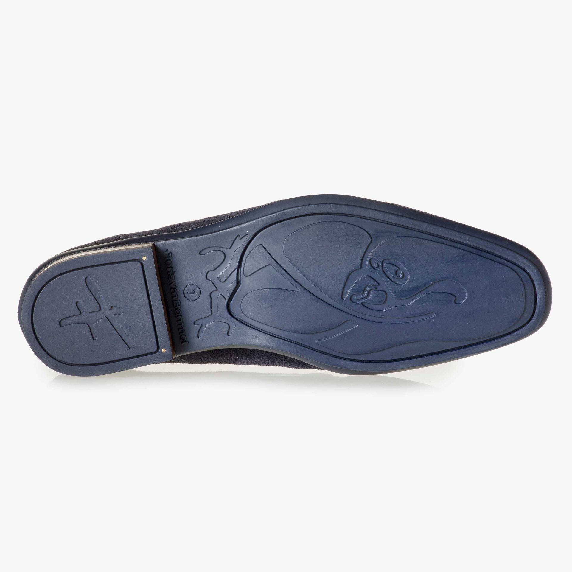 Blue suede leather lace shoe