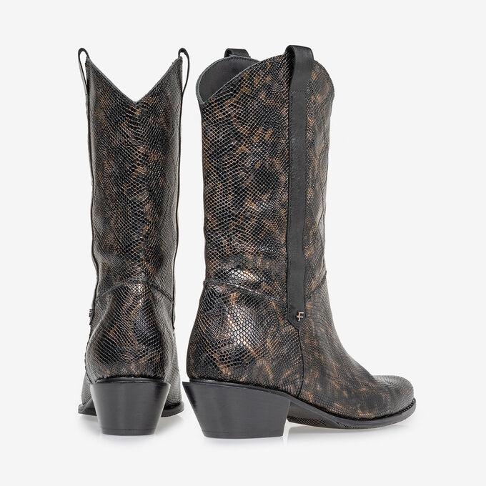 Western boot crocoprint koper