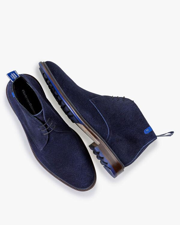 Lace boot suede dark blue