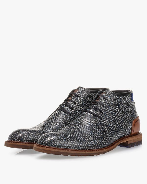 Lace boot leather black/white