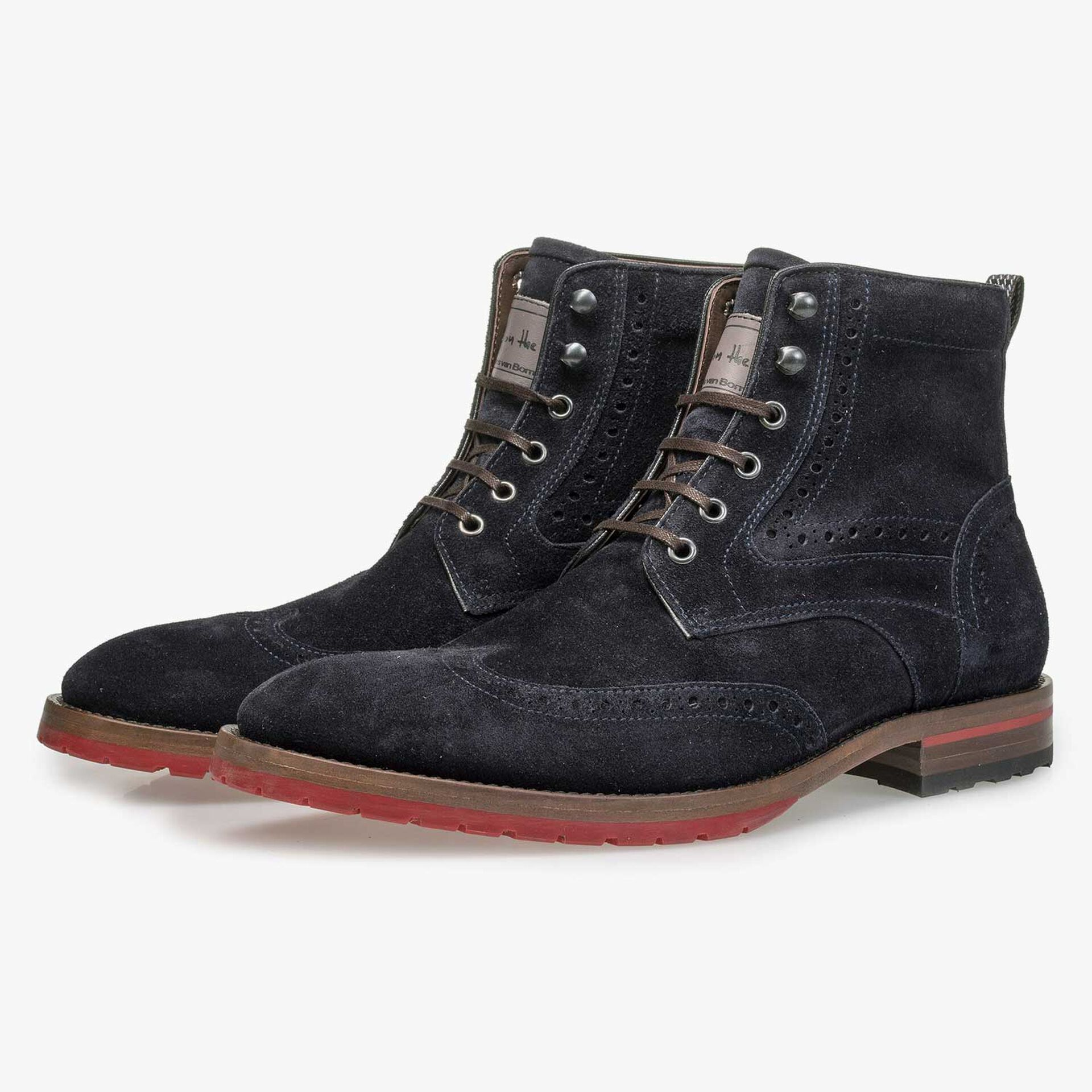 Blue suede leather lace boot with red outsole