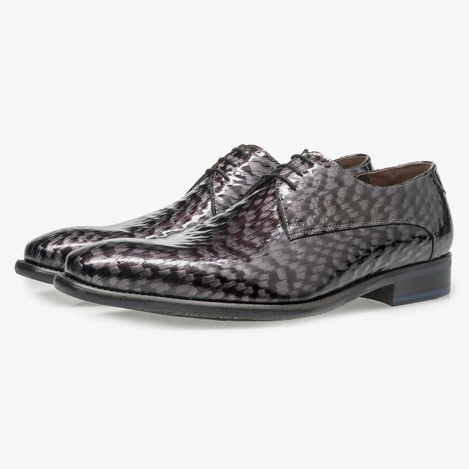 Premium grey printed patent leather lace shoe