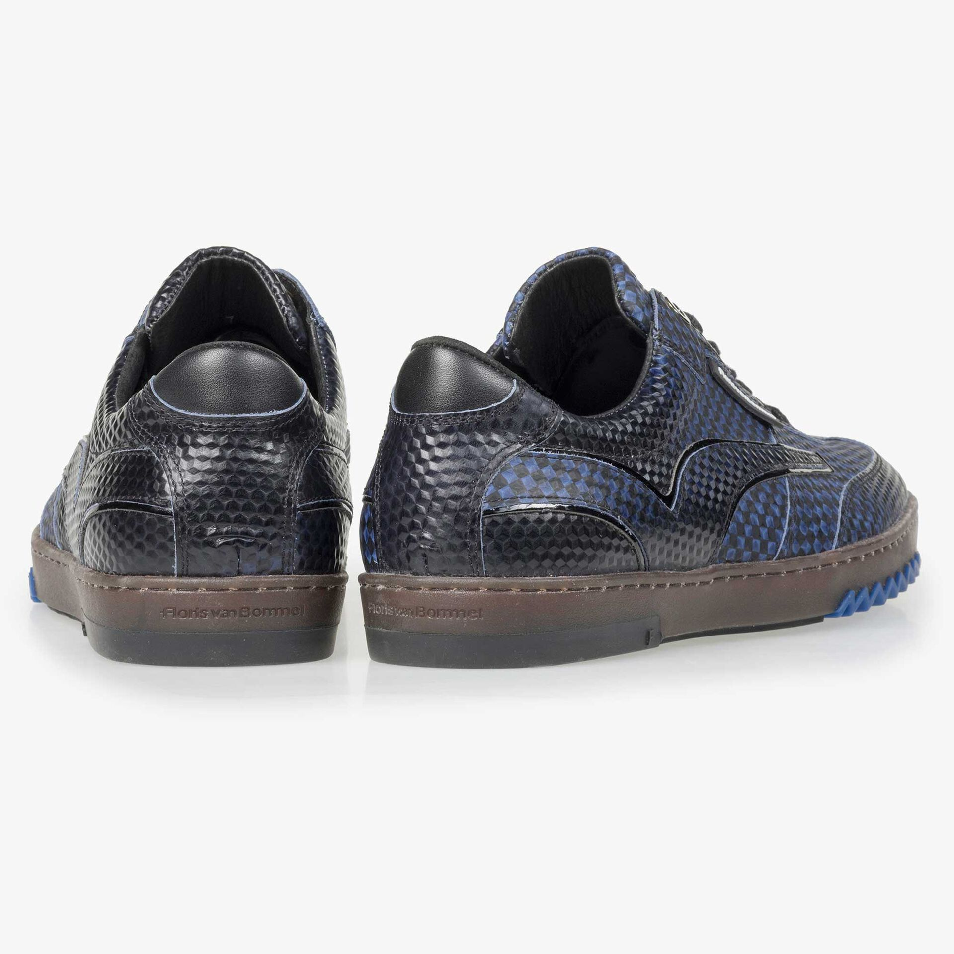 Floris van Bommel men's dark blue sneaker finished with a black print