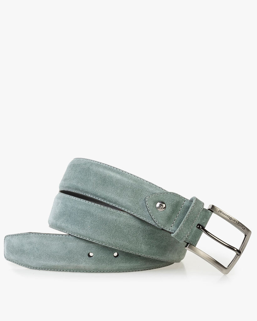Pale green washed suede leather belt