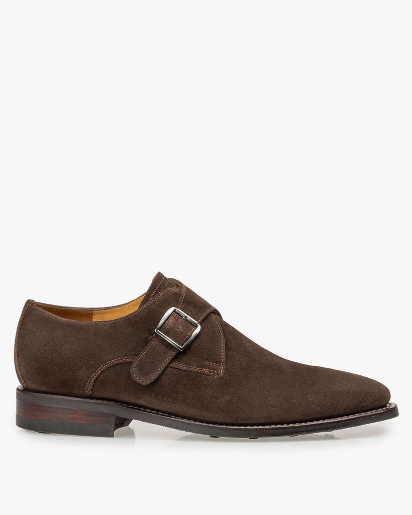 Dark brown suede leather monk strap
