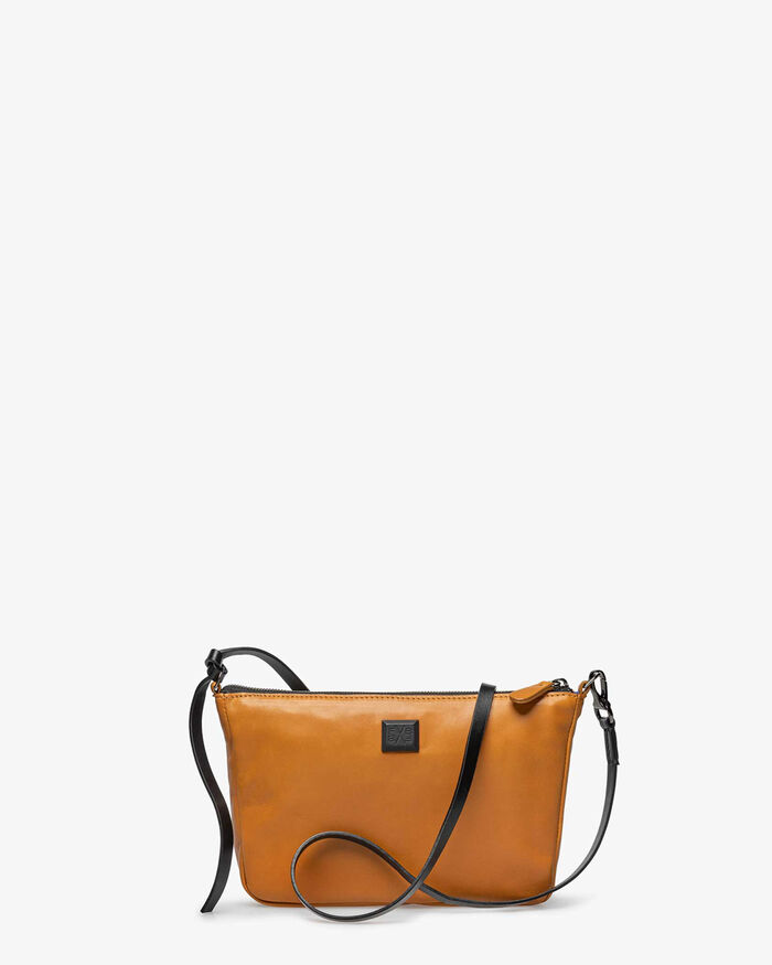 Cross body bag leather cognac