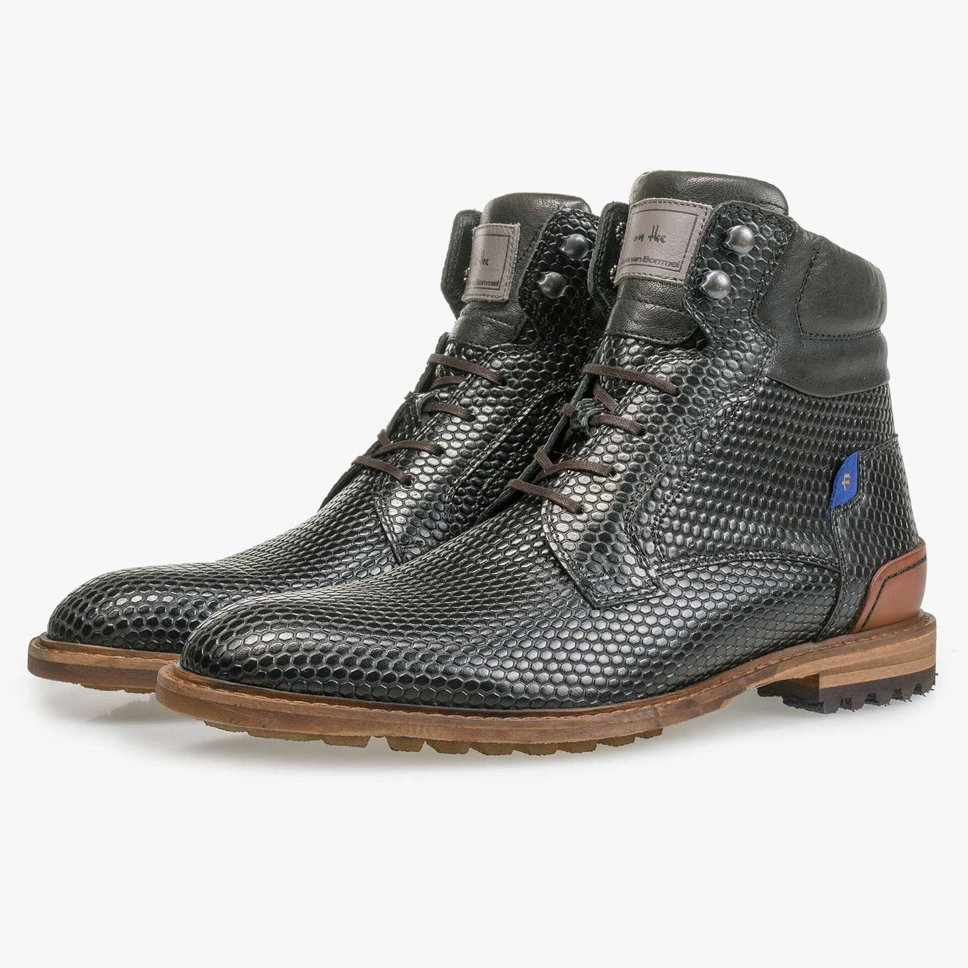 Black leather lace boot with structural print
