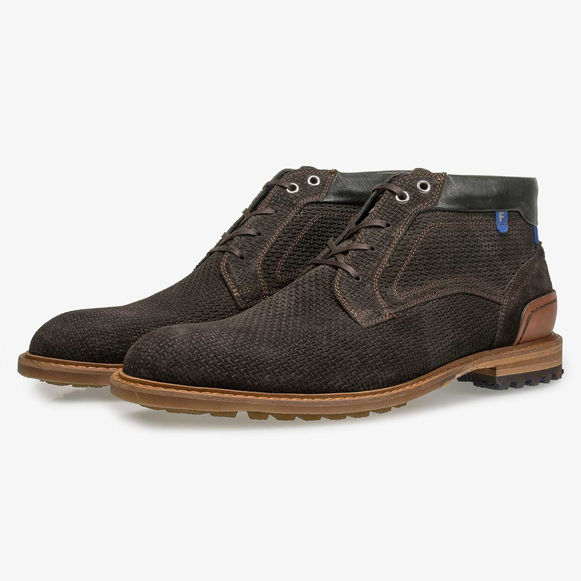 Brown suede leather lace boot with structural pattern