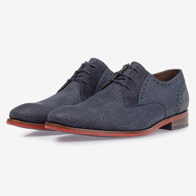 Lace shoe nubuck leather blue