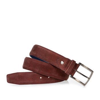 Belt nubuck leather dark red