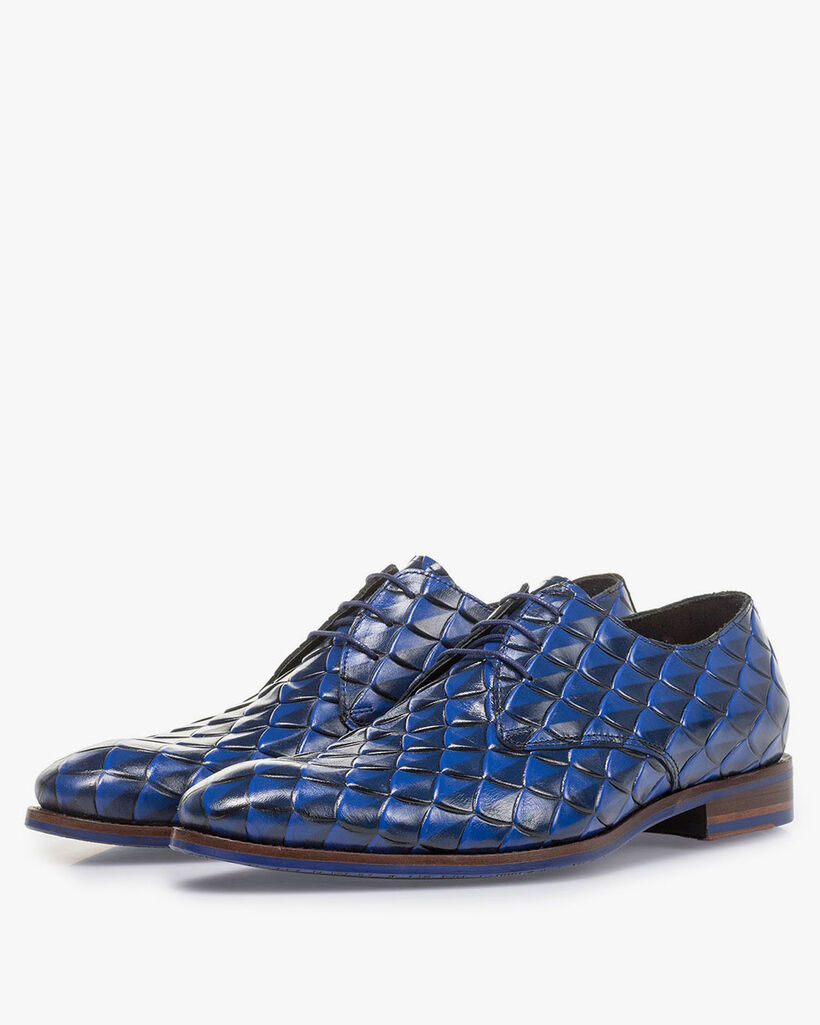 Premium blue leather lace shoe with print