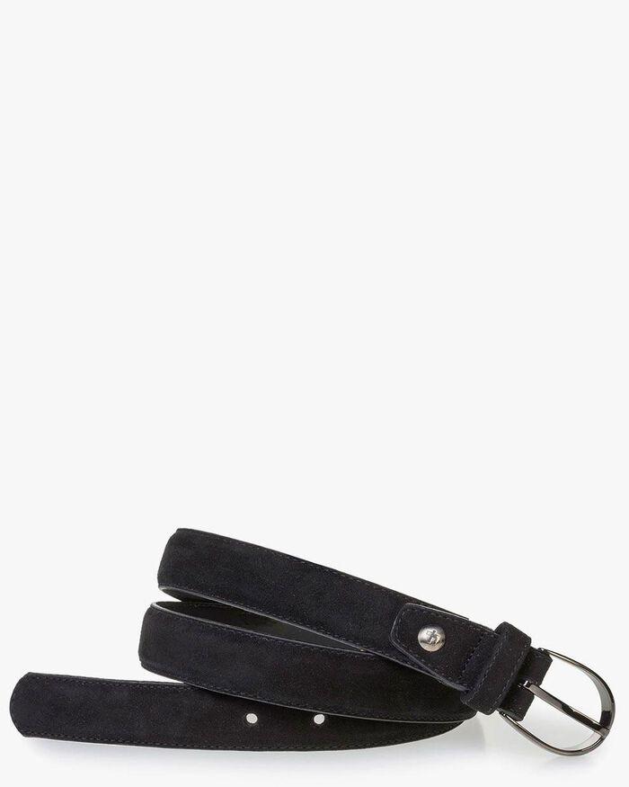 Women's belt black suede leather