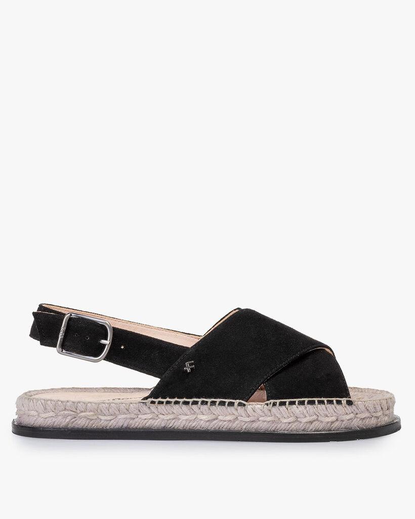 Sandal suede leather black