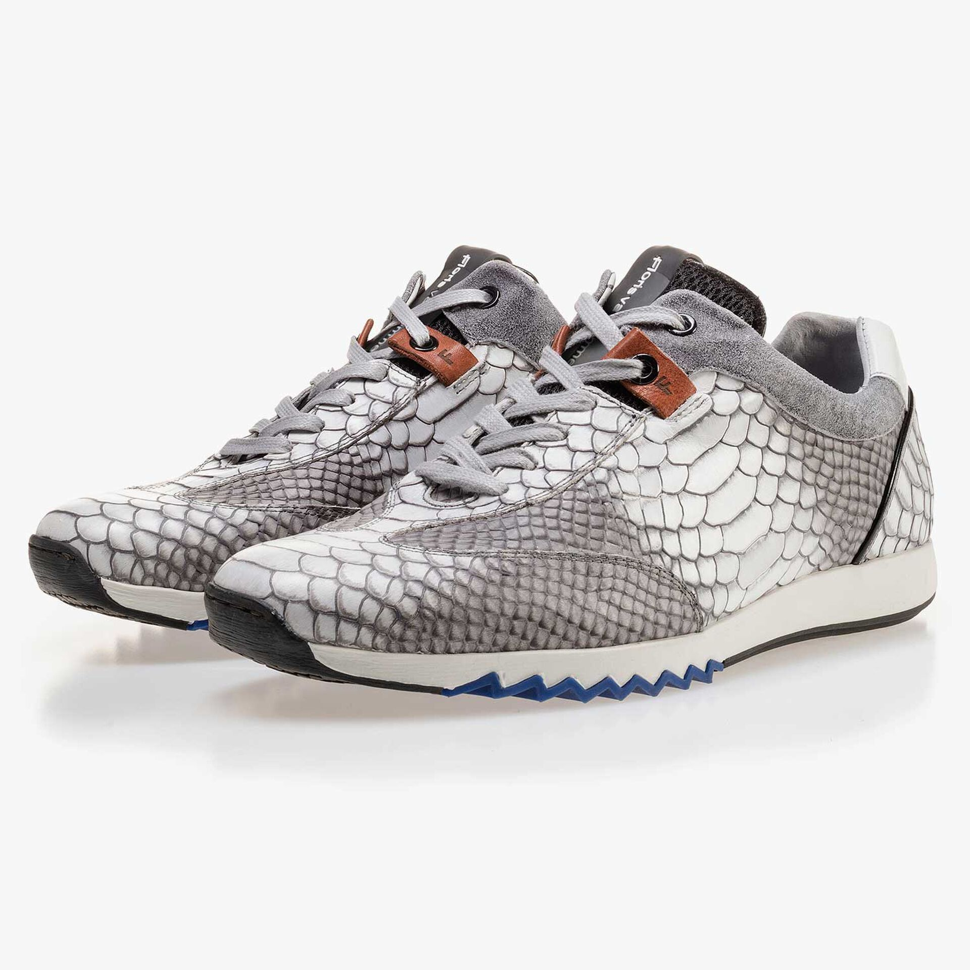 Grey calf's leather sneaker with a snake print