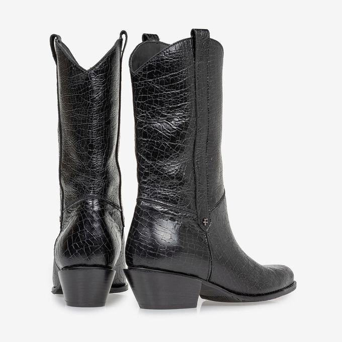 Western boot black leather craquelé