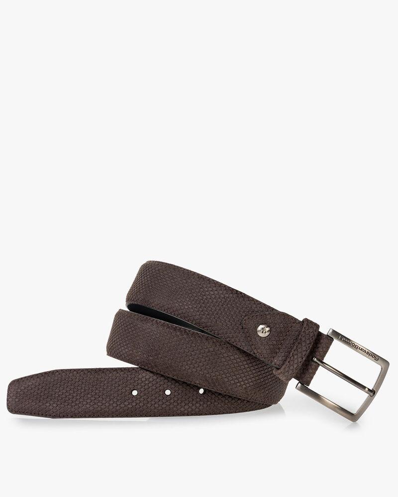 Belt printed leather dark brown