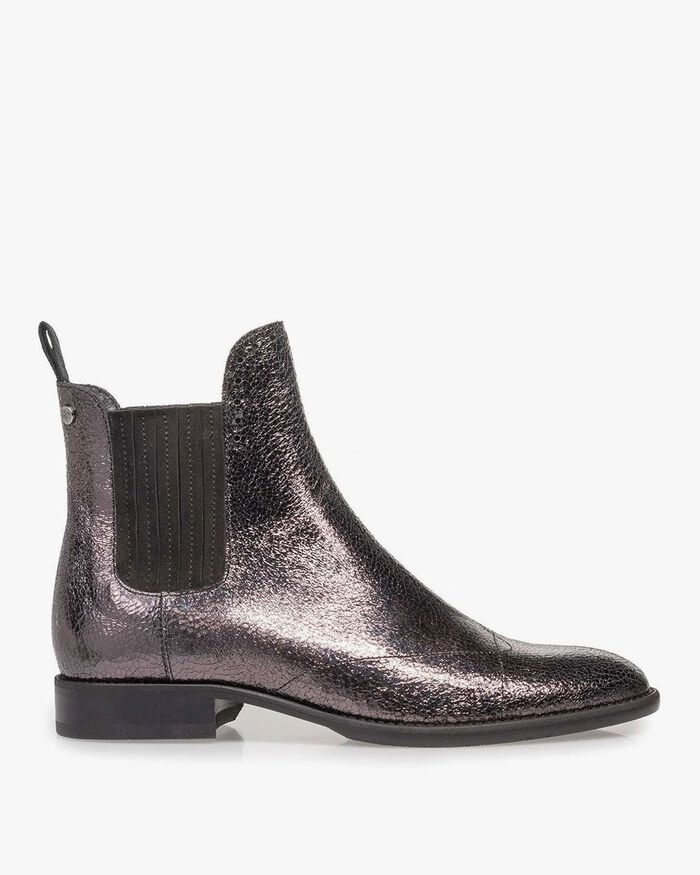 Dark silver-coloured leather Chelsea boot with metallic print