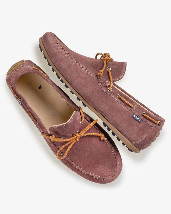 Moccasin suede leather pink