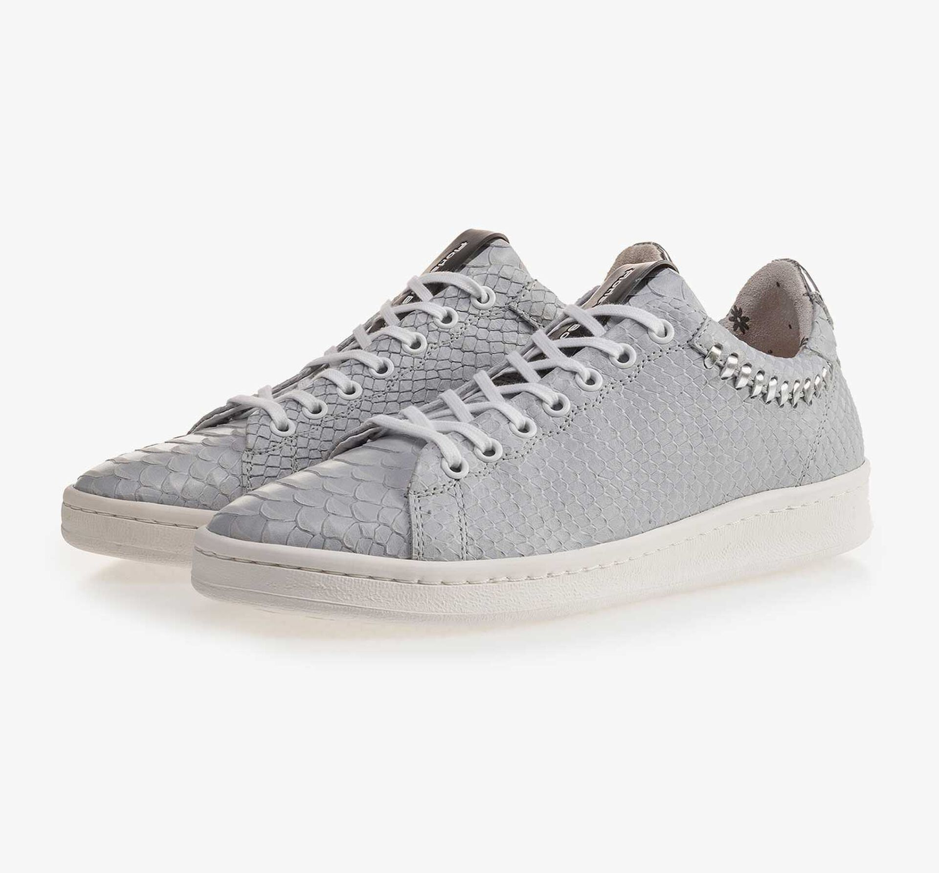 Light blue nubuck leather sneaker with snake print