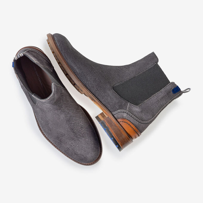 Chelsea boot suede leather with print