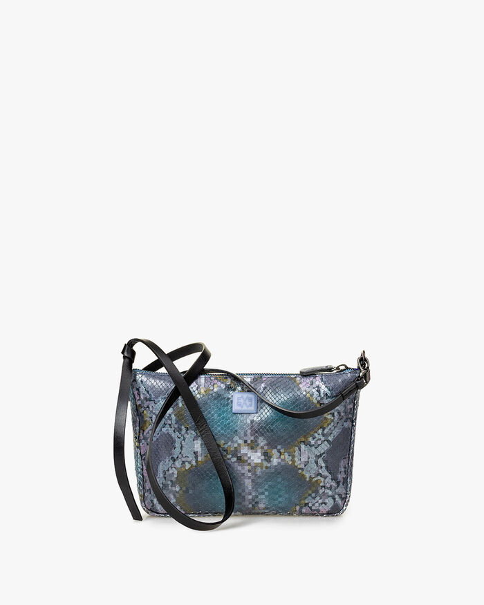 Cross body bag printed leather blue