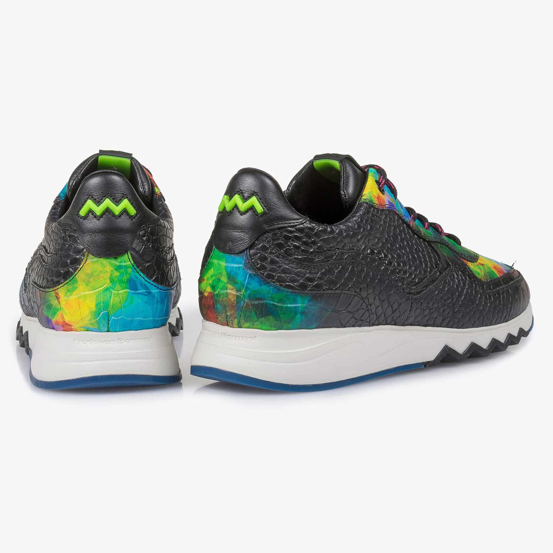 Multi-coloured croco print calf leather sneaker