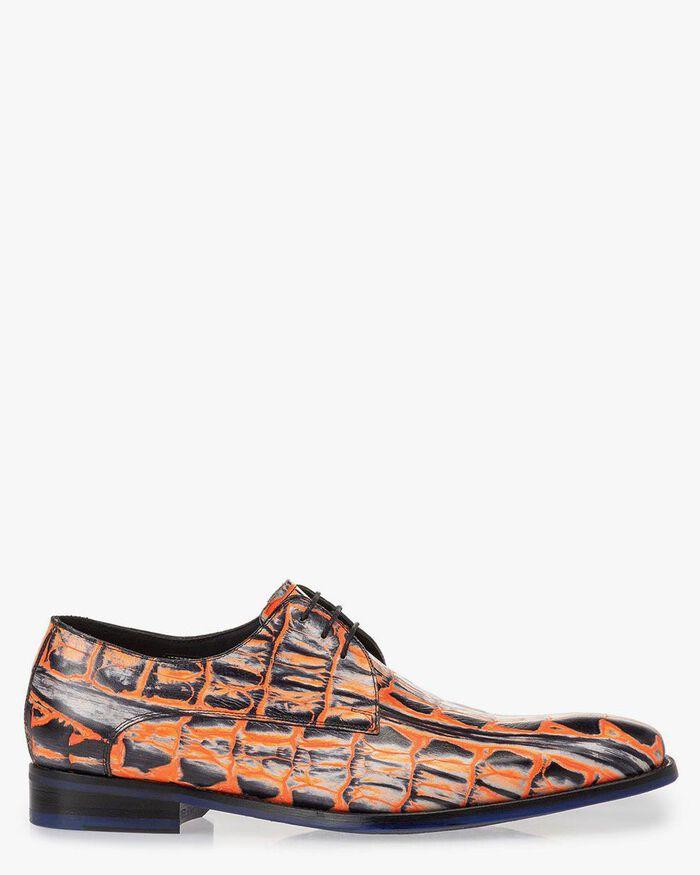 Veterschoen crocoprint oranje