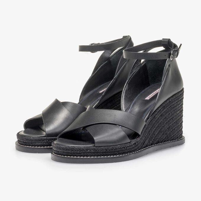 Black wedge-heel sandal