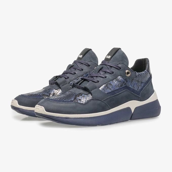 Blue suede leather sneaker with snake print