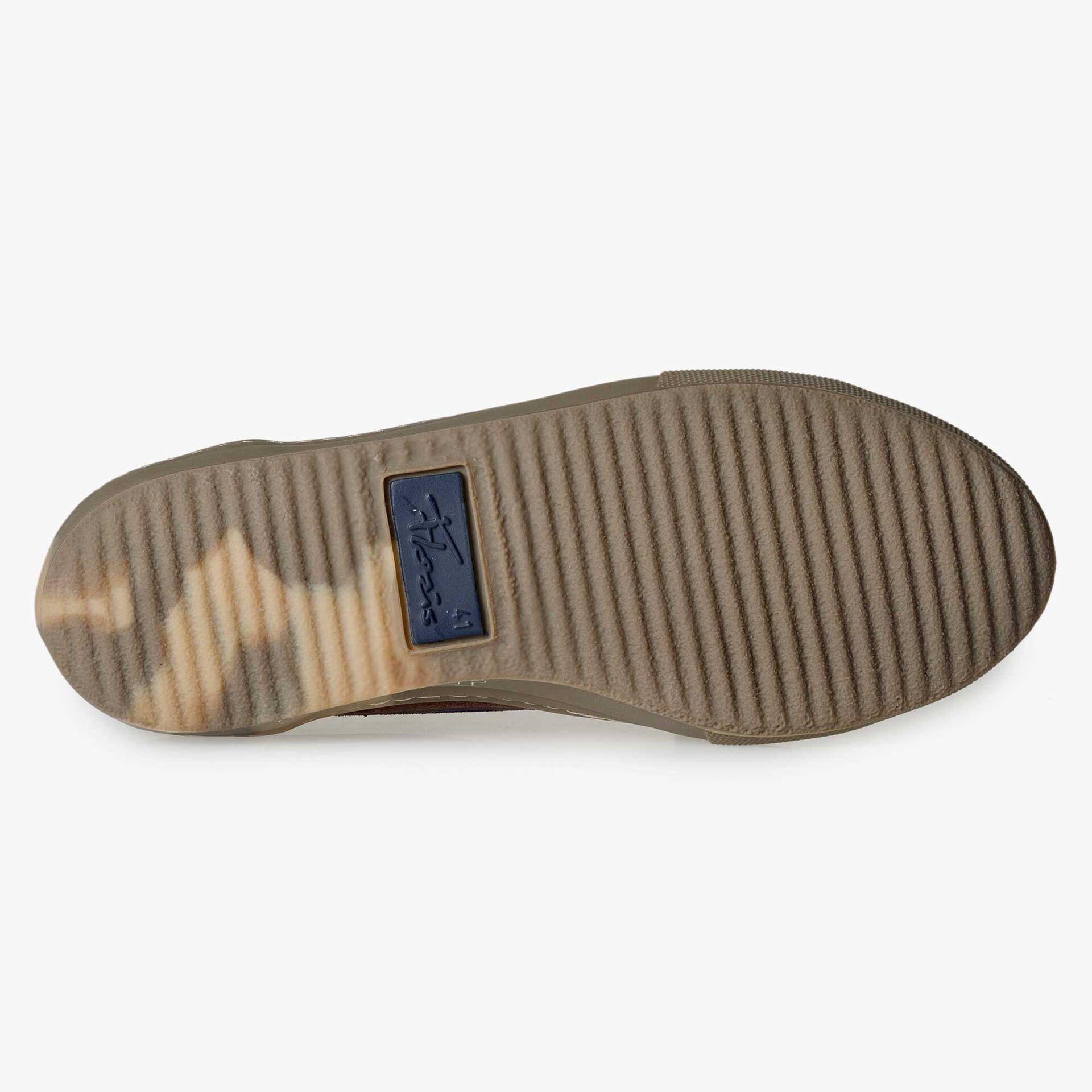 Floris van Bommel men's red-brown suede leather sneaker