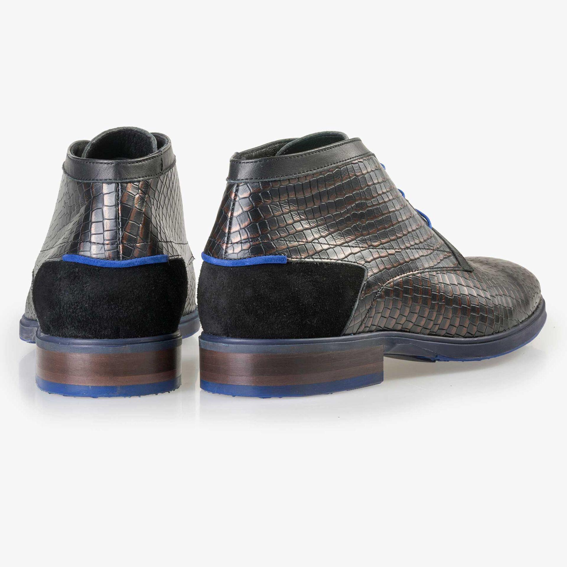 Floris van Bommel men's black leather lace boot with a brown metallic pattern