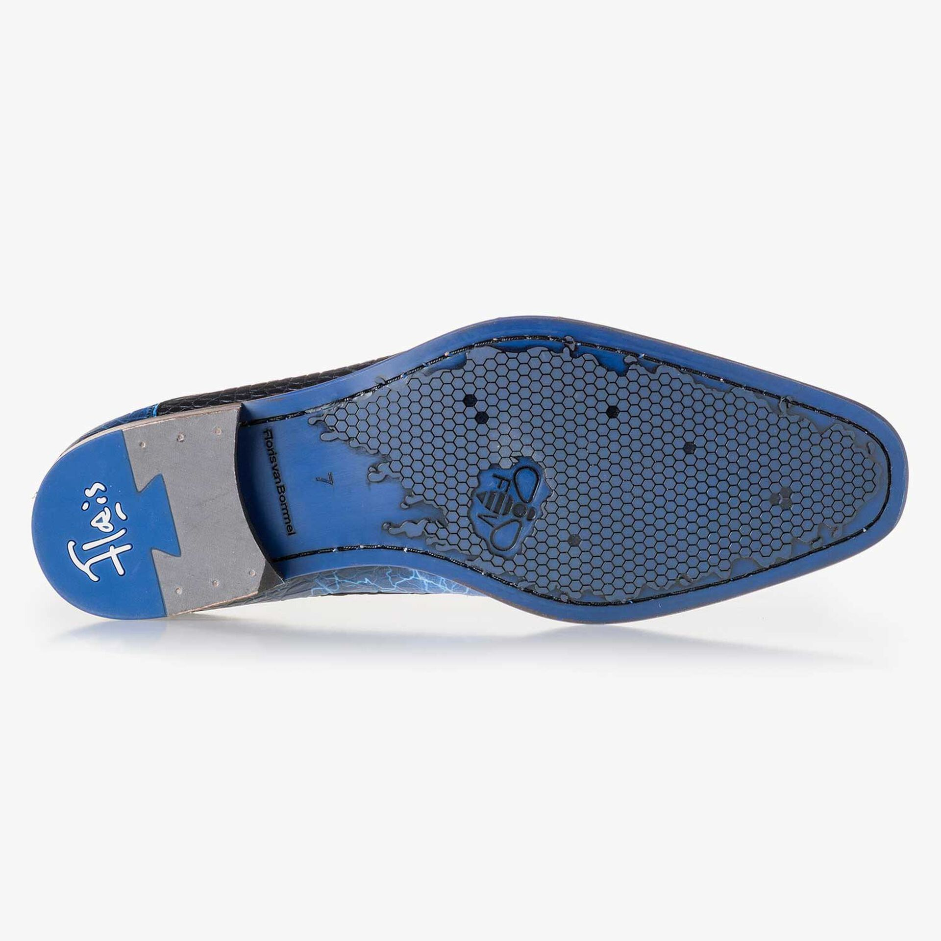 Premium blue printed leather lace shoe