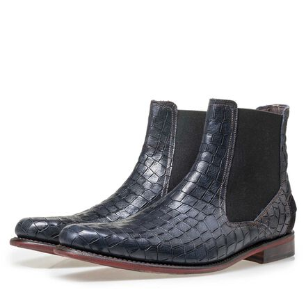 Floris van Bommel men's Chelsea boot finished with a crocodile print