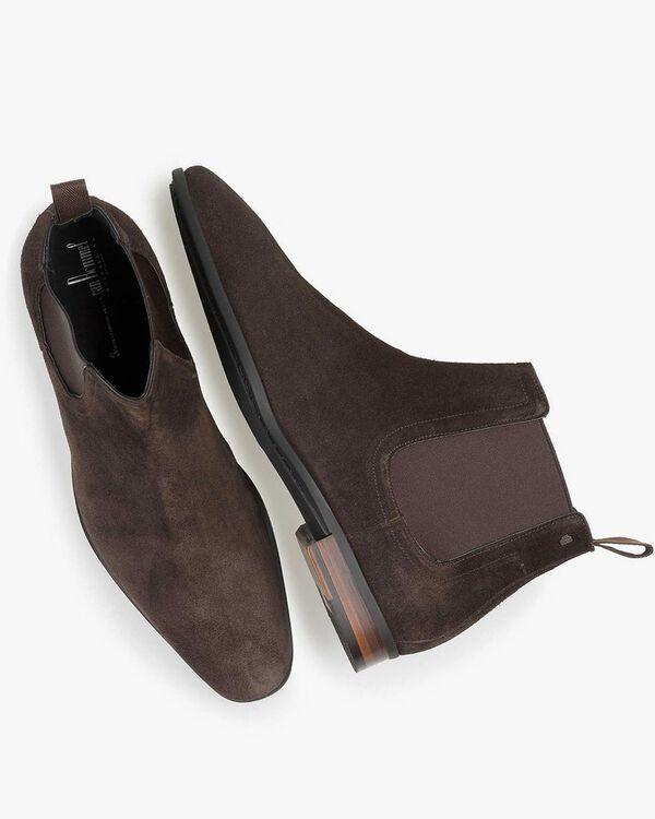 Donkerbruine gewaxt suède chelsea boot
