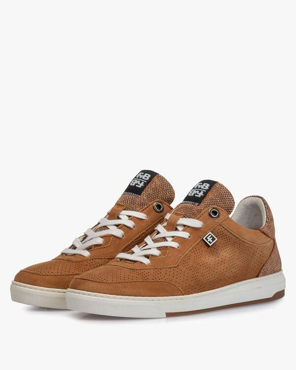 Sneaker nubuckleer cognac