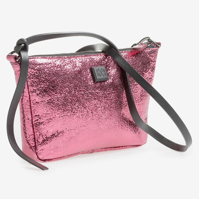 Pink leather bag with metallic print