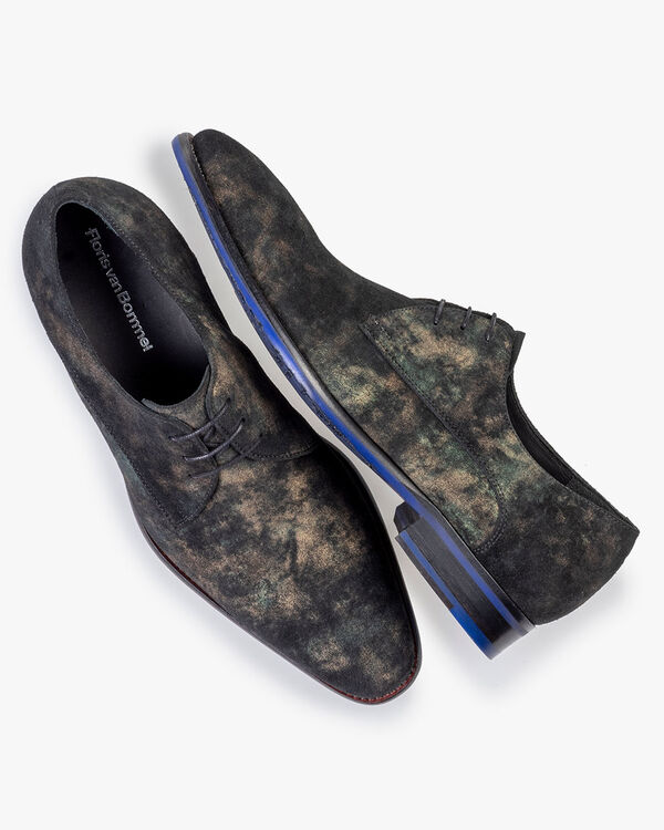 Lace shoe suede dark green