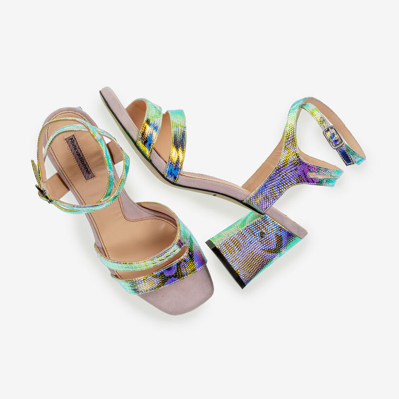 Leren sandalette met groen/gouden metallicprint
