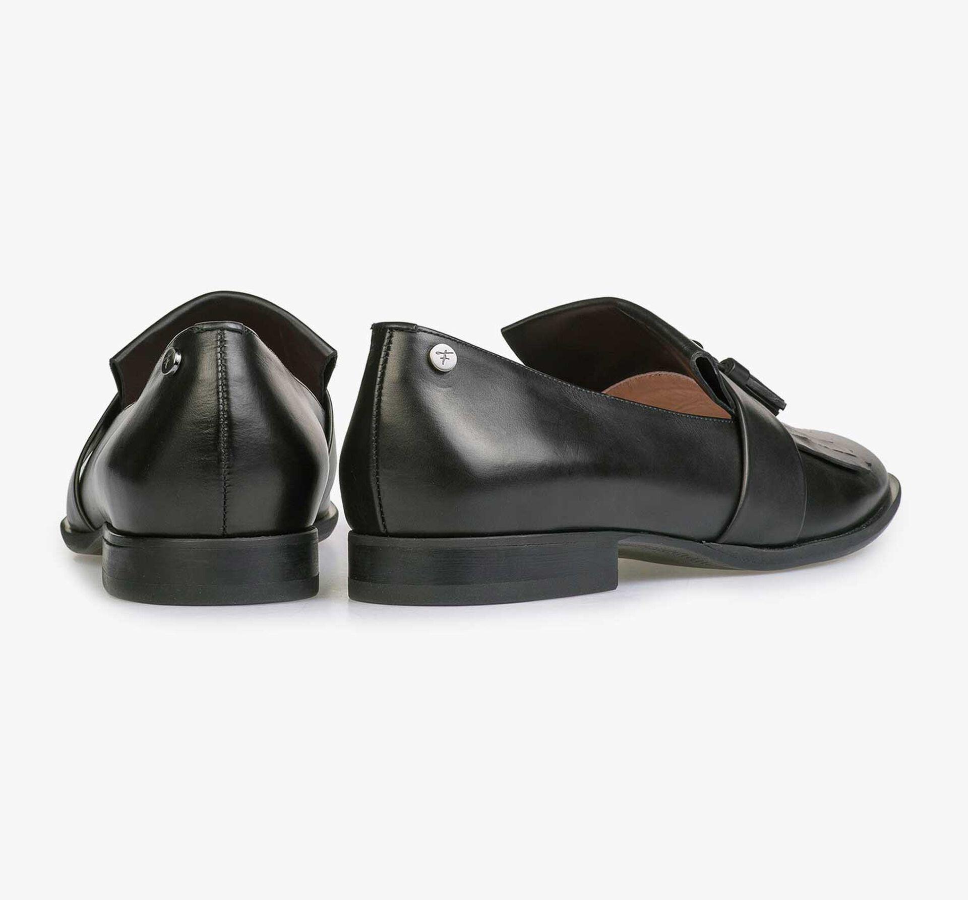 Zwarte glanzende kalfsleren loafer
