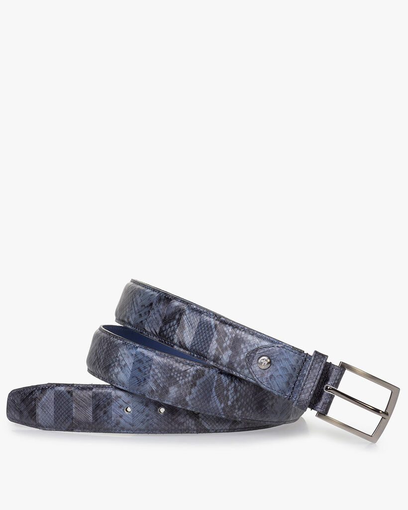 Grey patent leather belt snake print