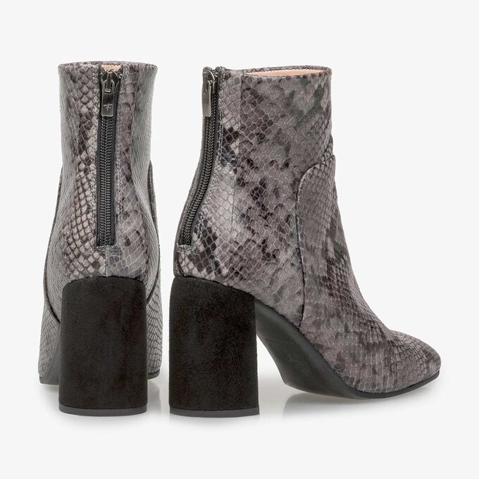 Dark grey leather ankle boot with snake print