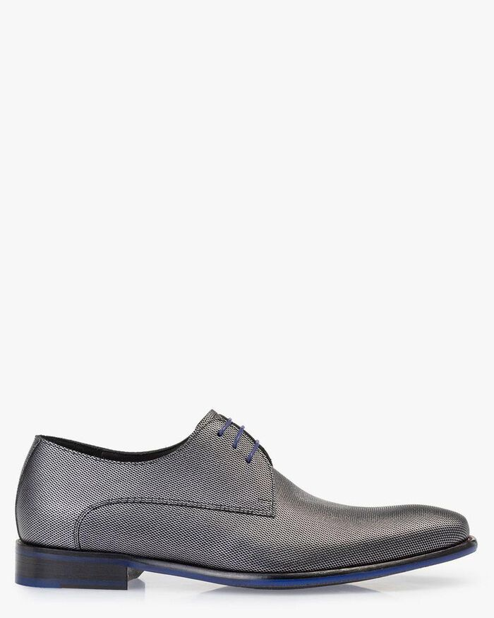 Lace shoe metallic print grey