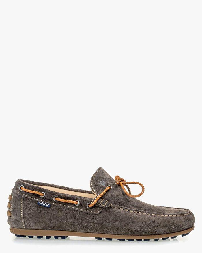 Moccasin suede leather dark grey