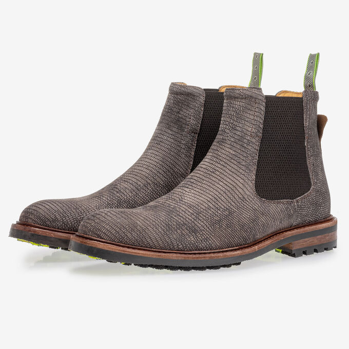 Chelsea boot with lizard print grey