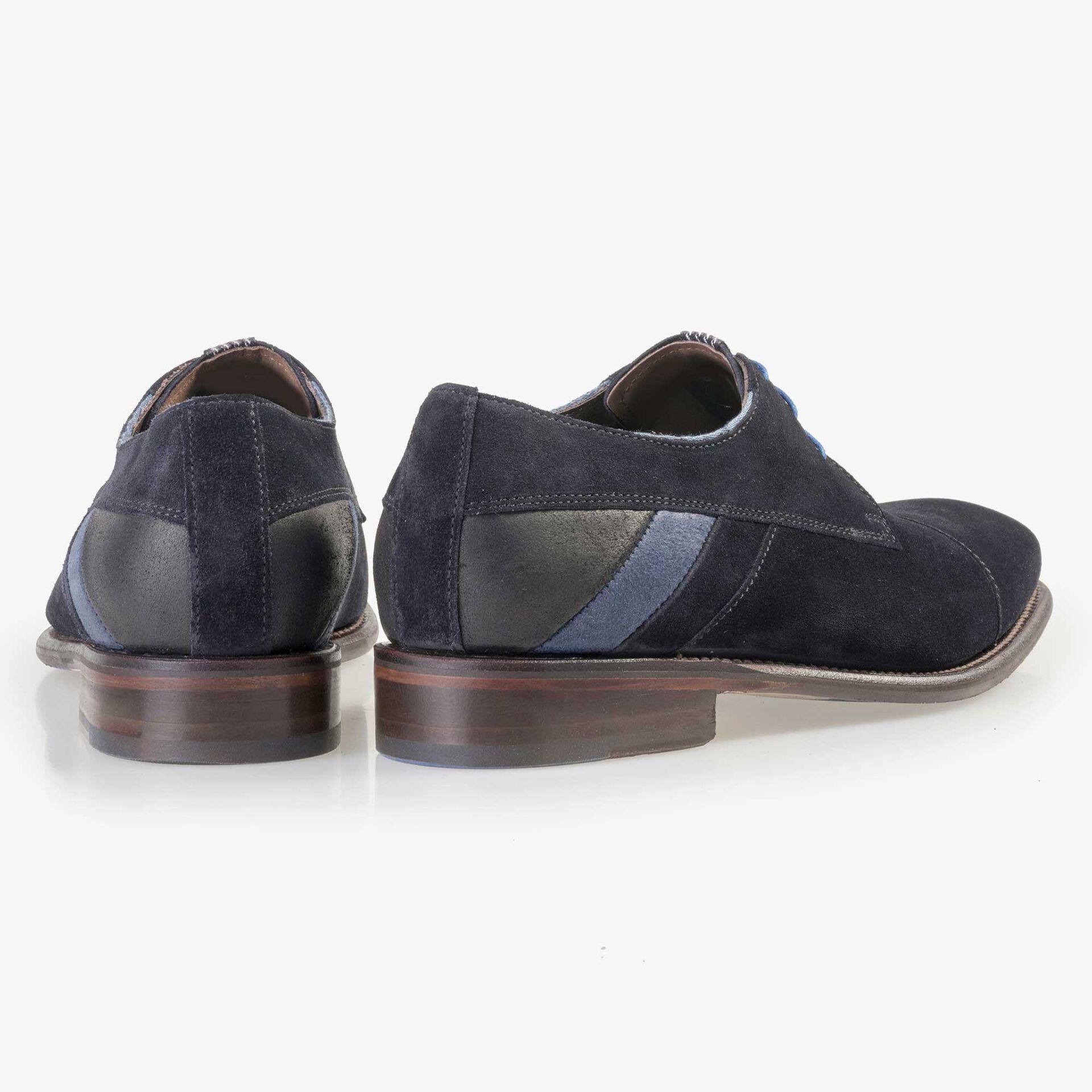 Floris van Bommel men's dark blue suede leather lace shoe