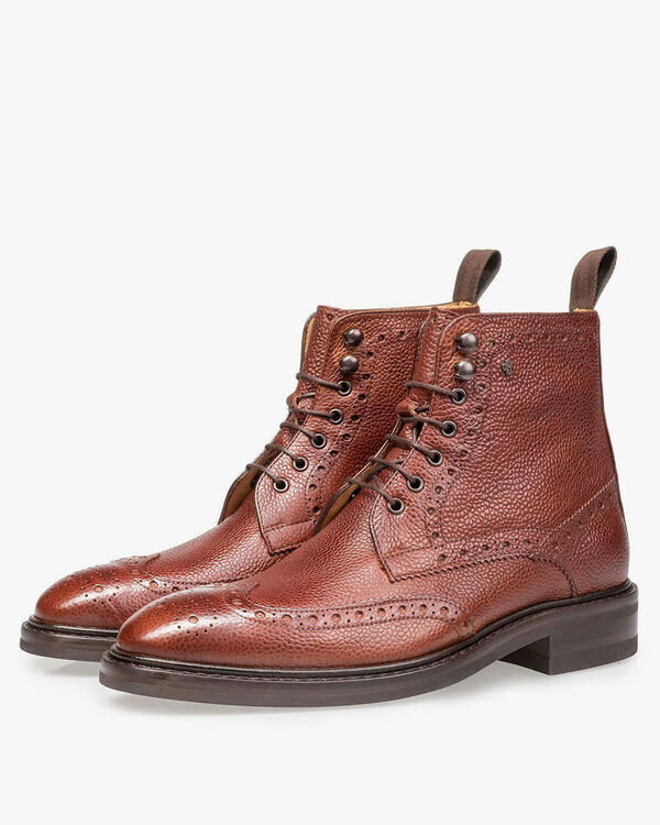 Boot printed leather cognac